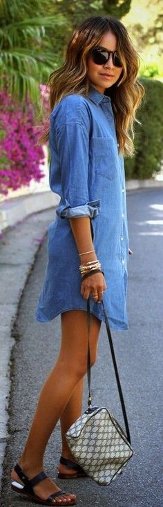 Street style | Denim shirt dress with sandals and sunglasses