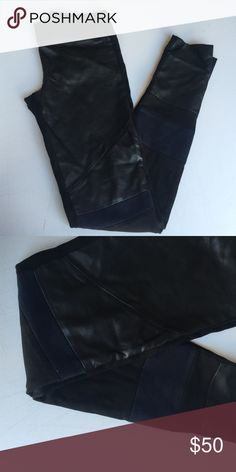 Club Monaco Leather Leggings Faux leather with knit panels; worn once; no trades Club Monaco Pants