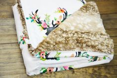 Floral Deer Minky Faux Fawn Fur baby blanket, baby swaddle, custom rustic baby bedding, faux fur throw blanket rustic nursery, floral antler by TheCozyTot on Etsy https://www.etsy.com/listing/473959571/floral-deer-minky-faux-fawn-fur-baby