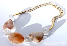 Earth-tone #Agate & glass #necklace w #gold accents & large link chain. LEXYAiR I.N.C. #JEWELRY #SS2015 #nyc