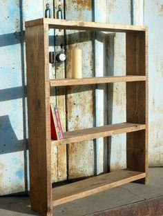 Bookshelf made with scaffolding planks