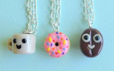 Clay Donut and Coffee and bean best friend necklaces