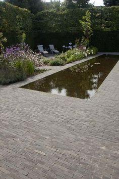 Vandemoortel clay pavers around pool Garden Pool, Water Garden, Garden Beds, Pool Water, Landscape Architecture, Landscape Design, Clay Pavers, Water Features In The Garden, Pool Landscaping