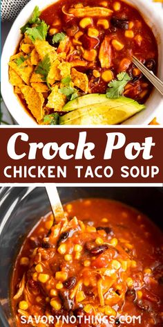 This is my absolute go-to dinner when I have no more than 5 minutes to spend in the kitchen! Just dump the ingredients in your slow cooker, switch it on and dinner will basically cook itself. | #tacosoup #soup #souprecipe #chickensoup #crockpot Best Slow Cooker, Slow Cooker Recipes, Soup Recipes, Crockpot Chicken Taco Soup, Vegan Comfort Food, Soups And Stews, Food Videos, Easy Meals, Favorite Recipes