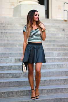 black A-line skirt + black  white striped fitted tee shirt + black strappy high heels
