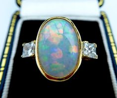 18ct Opal & Diamond Vintage Ring 18ct yellow by ElizeJewellery