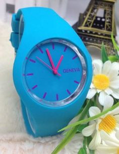 Geneva Fashion Watch - Wholesalers Sample - Save $$$ on RRP $115 - Aqua/Hot Pink Geneva, Fashion Watches, Bracelet Watch, Hot Pink, Aqua, Unisex, Ebay, Water