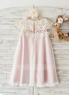 A-Line/Princess Knee-length Flower Girl Dress - Chiffon/Lace Sleeveless Scoop Neck With Lace - Flower Girl Dresses - JJsHouse Wedding Flower Girl Dresses, Wedding Dress Chiffon, Little Girl Dresses, Flower Dresses, Girls Dresses, Lace Chiffon, Party Dresses, Chiffon Dresses, Pageant Dresses