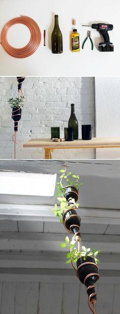 Turn empty wine bottles into a hanging herb garden