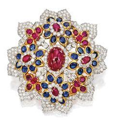 18 Karat Gold, Platinum, Ruby, Sapphire and Diamond Pendant-Brooch, David Webb