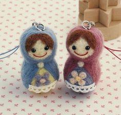 DIY handmade felt wool Matrioshka Doll Charm Japanese kit package