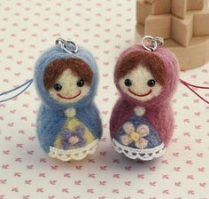 DIY handmade felt wool Matrioshka Doll Charm by 1127handcrafter, $20.00