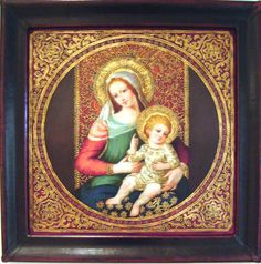 """Virgin Mary Original Oil Painting - Madona de la Rotonda by Mendoza Artist: Diana Mendoza  Size: 24 High x 24 Wide.   Frame Description:High quality, handmade leather frame, itself is a work of art. Gentle, contoured scoop design, corner embellishments. Frame Size: 3-1/8"""" W x 1-3/4"""" D  Hand-painted, original oil painting on canvas of the Virgin Mary. Framed and ready to hang."""