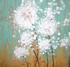 Dandelion Puffs Outdoor Wood Painting by charmthatgirl on Etsy, $75.00