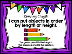 order objects by length, measurement, first 1st grade ready math, common core, curriculum associates, unit 7 lesson 31, learning target poster