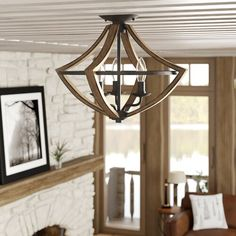 House of Hampton Pell 1 - Light Unique/Statement Tiered Semi Flush Mount Semi Flush Ceiling Lights, Flush Mount Lighting, Foyer Lighting, Led Ceiling, Kitchen Lighting, Style Empire, Ceiling Fan With Remote, Candelabra Bulbs, Modern Rustic Interiors