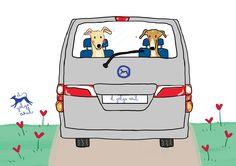 El galgo azul de vacaciones en furgoneta
