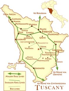 Tuscany, Italy map with rail lines and distance calculations | TIP: Always take the bus to Siena from Firenze! It's faster and the bus station is in the city center (unlike the rail station).