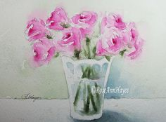 Watercolor painting of pink roses in a glass vase by RoseAnn Hayes, available in Etsy shop.