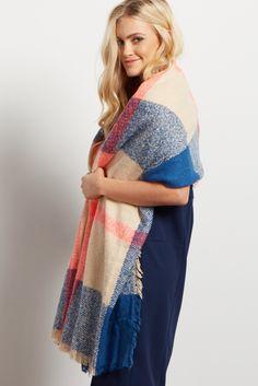 Blue Pink Plaid Knit Fringe Blanket Scarf