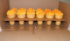Olympic Torches Ice cream cones filled with cake, BC flames. To go with an Olympic rings cake. Totally stole this idea from smileyface,. Cupcakes, Cupcake Cakes, Yummy Treats, Sweet Treats, Cooking Torch, Cooking Steak, Ring Cake, Good Food, Yummy Food