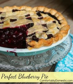 Perfect Blueberry Pie is so simple and perfect with juicy blueberries, a little lemon, and sugar nestled in a flaky all butter crust. @comfortdomestic