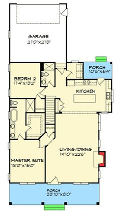 First floor only and scale down Cottage With Flexible Bedrooms - turn the guest suite into the master, and the master into a den with inglenook; Cottage House Plans, Cottage Homes, One Bedroom House Plans, Cottage Bedrooms, Small Bedrooms, Guest Bedrooms, Cottage Style, Master Suite, Guest Suite
