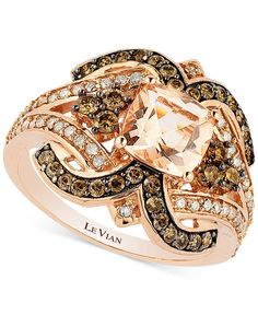Le Vian Chocolatier® Peach Morganite (1 ct. t.w.) and Diamond (3/4 ct. t.w.) Ring in 14k Rose Gold