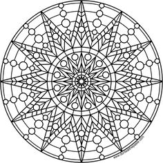Star and circle mandala to print and color- available in PNG and JPG format ...Lots of FREE MANDALAS TO COLOR!!