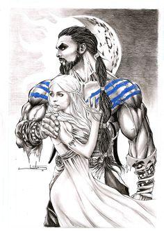 Game of Thrones - Art and Motivation Game Of Thrones Tattoo, Dessin Game Of Thrones, Arte Game Of Thrones, Game Of Thrones Comic, Khal Drogo E Daenerys, Daenerys Targaryen, Khaleesi, Caricatures, Jon Snow