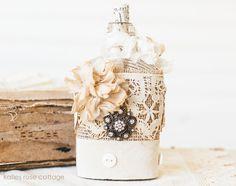 """Vintage Embellished Bottle """"Button Ribbon""""......... just an idea"""