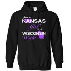 (KSJustTim002) Just A Kansas Girl In A Wisconsin World - #teacher shirt #red shirt. LIMITED AVAILABILITY => https://www.sunfrog.com/Valentines/-28KSJustTim002-29-Just-A-Kansas-Girl-In-A-Wisconsin-World-Black-Hoodie.html?68278