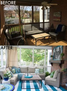 Screen Porch Decorating Makeover. Great tips on how to makeover a tired space.