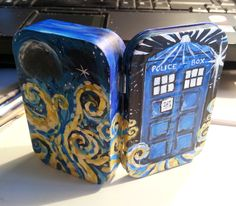 Doctor Who Handpainted ALTOIDS tin Tardis with swirls Dr. Who survival kit acrylic sealed. $25.00, via Etsy.