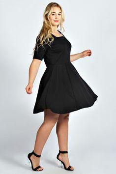 Kerry Square Neck Skater Dress at boohoo.com