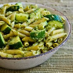 Easy Penne Pasta with Zucchini and Basil Pesto; this is about as easy as it gets for a quick dinner recipe that uses zucchini! [from KalynsKitchen.com] #Zucchini #Pesto #EasyDinner