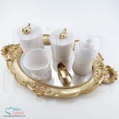 Kit Higiene Cerâmica para decoração de quarto de bebê e infantil KH0011, pássaros, passarinhos, sapatos, sapatinhos, dourado, ouro, porcelana, cerâmica | SP, BH, MG, RJ, DF