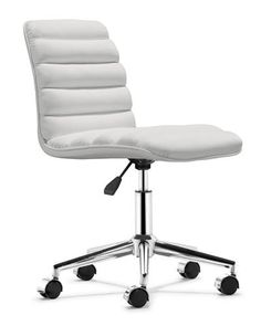 Cushy and warm as soft, baked bread, this padded leatherette chair boasts an adjustable chrome base, easy-roll wheels, and a unique look! Its dimensions are 18.