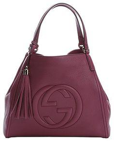 Gucci purple leather medium 'Soho' hobo shoulder bag
