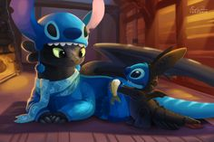 """Stitch and Toothless"" by TsaoShin - dressed as each other! So cute, I just can't stand it. (Look at Toothless' scarf!) Even though Toothless isn't Disney, I will put them here Art Disney, Disney Kunst, Disney Magic, Disney Movies, Disney Crossovers, Disney Stuff, Disney Characters, Pixar Movies, Kid Movies"