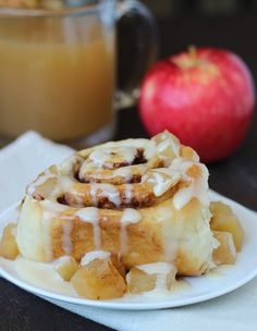 Apple Cider Cinnamon Rolls with Cream Cheese Icing