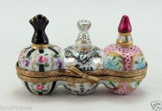 NEW FRENCH LIMOGES BOX BEAUTIFUL FLORAL PARIS PERFUME FLACONS & SCENTER BOTTLES