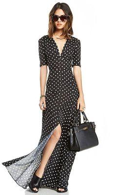 Dots Print Slit Maxi Dress