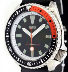 SEIKO 7002 Diver Mod w/White Bayonet hands, White Chapter Ring and Orange /Black…