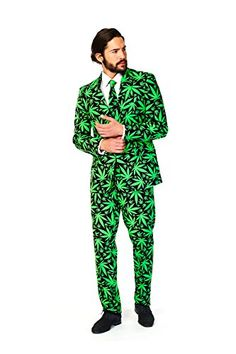 OppoSuits Men's Cannaboss Party Costume Suit, Black/Green, 44 ** Additional info @