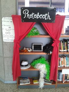 iPad is set up with a the photobooth app. kids can grab a prop and take a picture! Girl Scout Silver Award, Army Post, Cap Ideas, Library Displays, Library Design, Ipads, Girl Scouts, All Pictures, Libraries