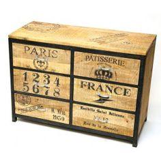 Aparador estilo vintage de madera y hierro 2