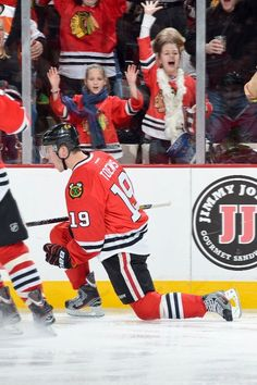 CHICAGO, IL - MARCH 6: Jonathan Toews #19 of the Chicago Blackhawks celebrates after scoring a goal during the NHL game against the Colorado Avalanche on March 06, 2013 at the United Center in Chicago, Illinois. (Photo by Bill Smith/NHLI via Getty Images)