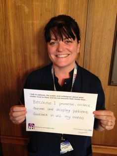 """Michelle Scowen, Matron - Acute Division: """"Because I promote, collect, theme and display patient feedback in all my areas."""""""
