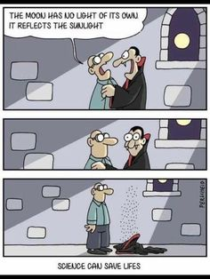Science can save lives. A vampire humor illustration Memes Humor, Funny Jokes, Hilarious, Funny Gifs, Film Scream, Science Jokes, Science Fiction, Science Comics, Science Guy